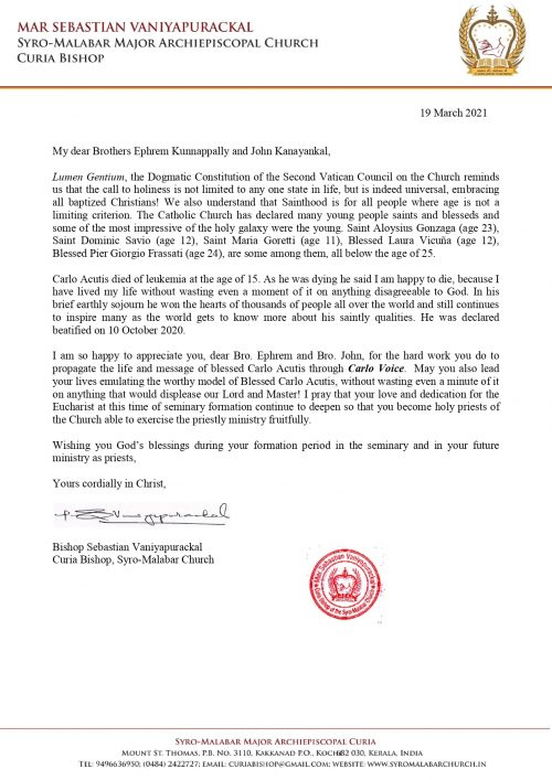 Message of curia Bishop to Carlo Voice of blessed Carlo Acutis_page-0001
